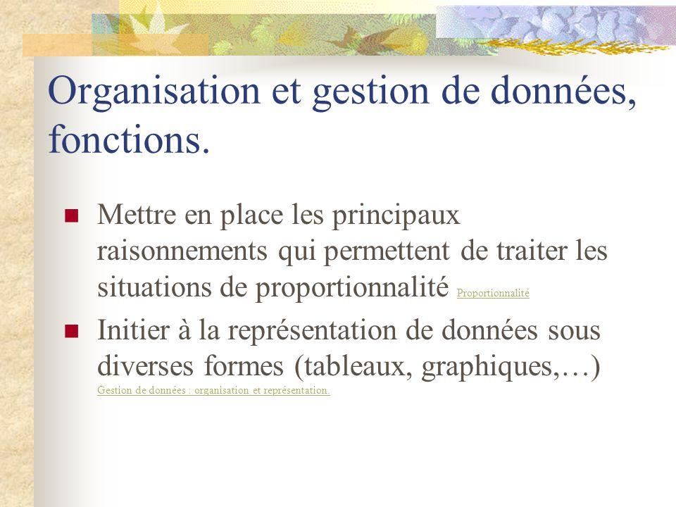 Organisation et gestion de données, fonctions.