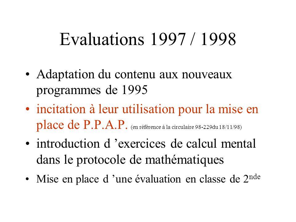 Evaluations 1997 / 1998 Adaptation du contenu aux nouveaux programmes de 1995.