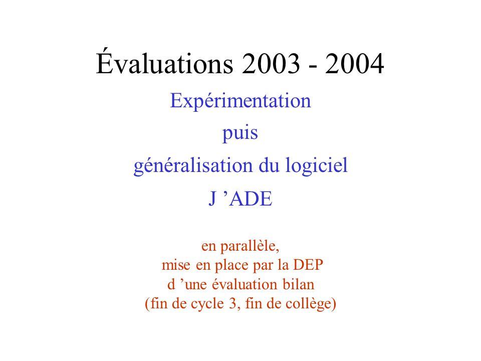 Évaluations 2003 - 2004 Expérimentation puis