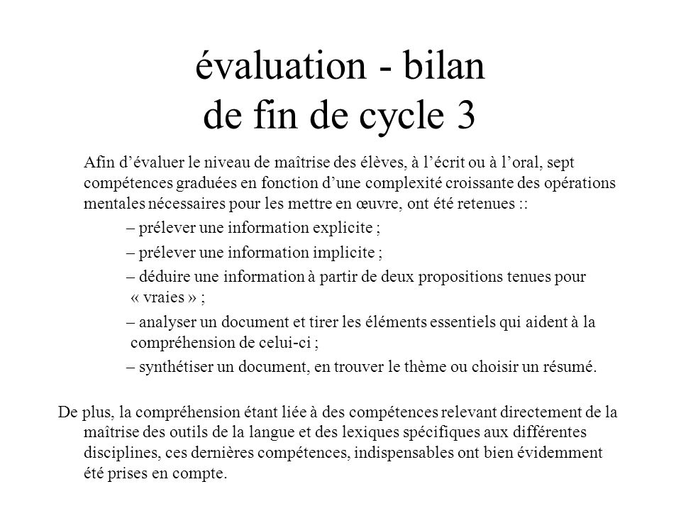 évaluation - bilan de fin de cycle 3