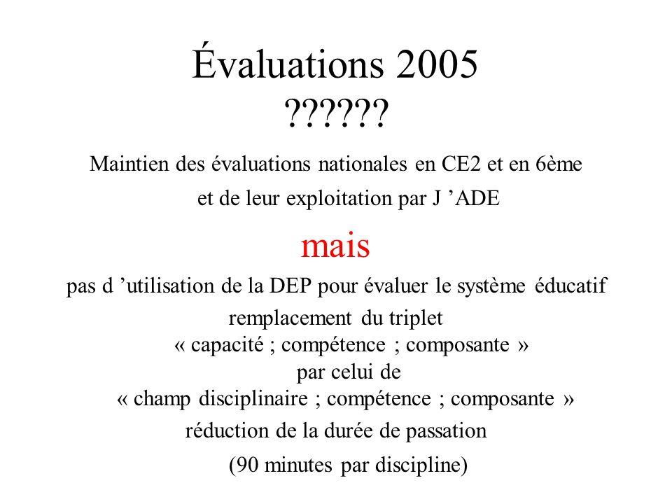 Évaluations 2005 Maintien des évaluations nationales en CE2 et en 6ème et de leur exploitation par J 'ADE.