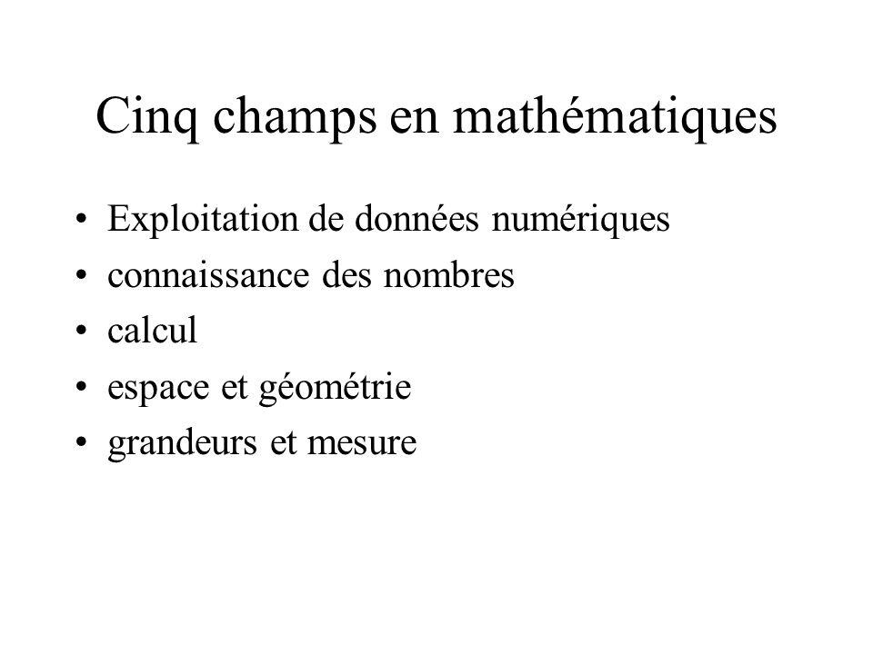 Cinq champs en mathématiques