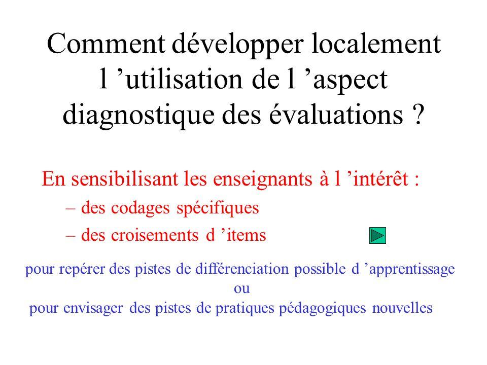 Comment développer localement l 'utilisation de l 'aspect diagnostique des évaluations