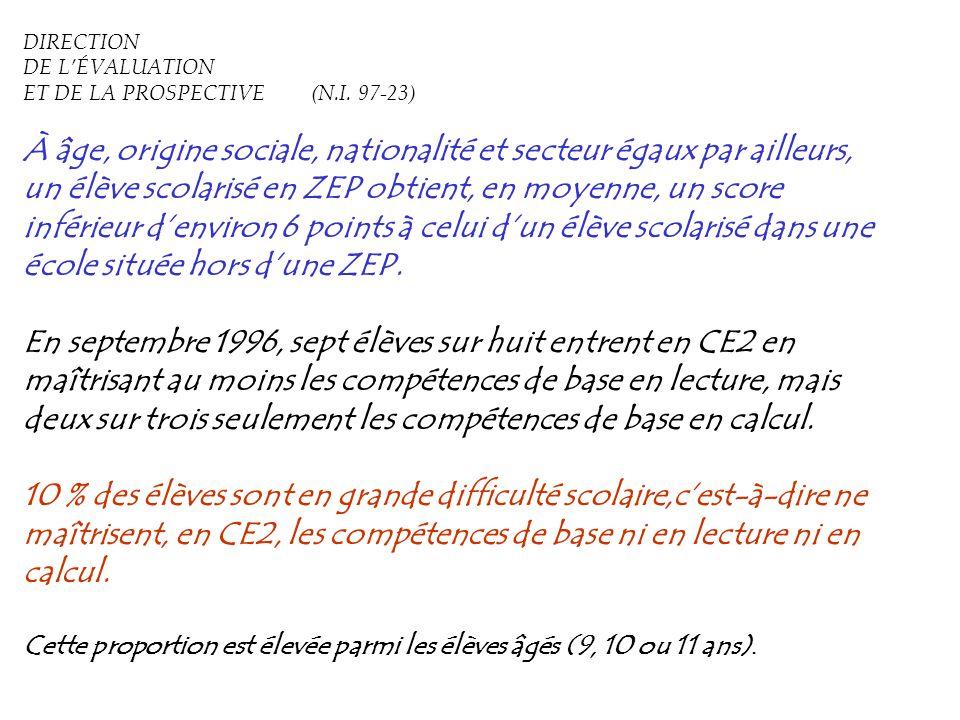 DIRECTION DE L'ÉVALUATION ET DE LA PROSPECTIVE (N.I. 97-23)