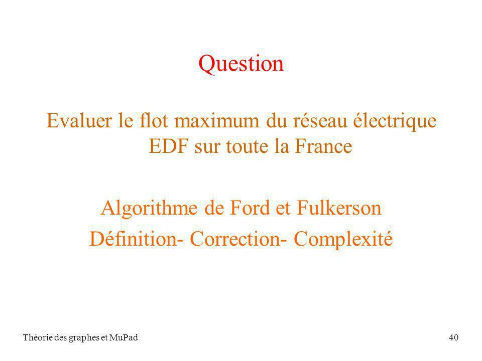 Question Evaluer le flot maximum du réseau électrique EDF sur toute la France. Algorithme de Ford et Fulkerson.