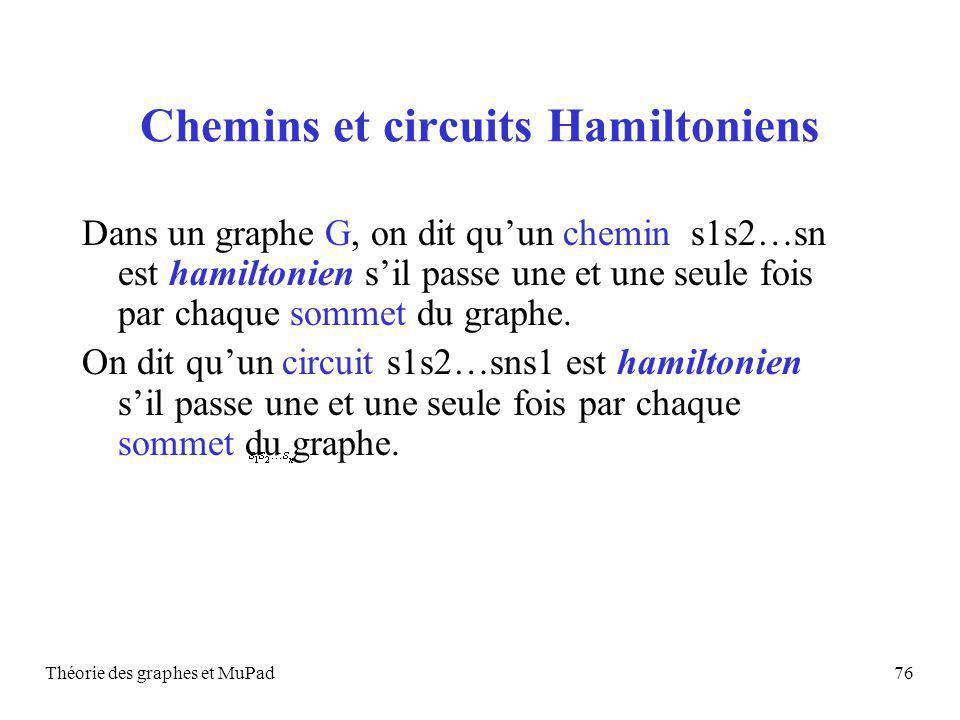Chemins et circuits Hamiltoniens