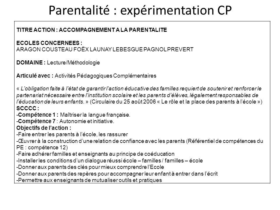 Parentalité : expérimentation CP