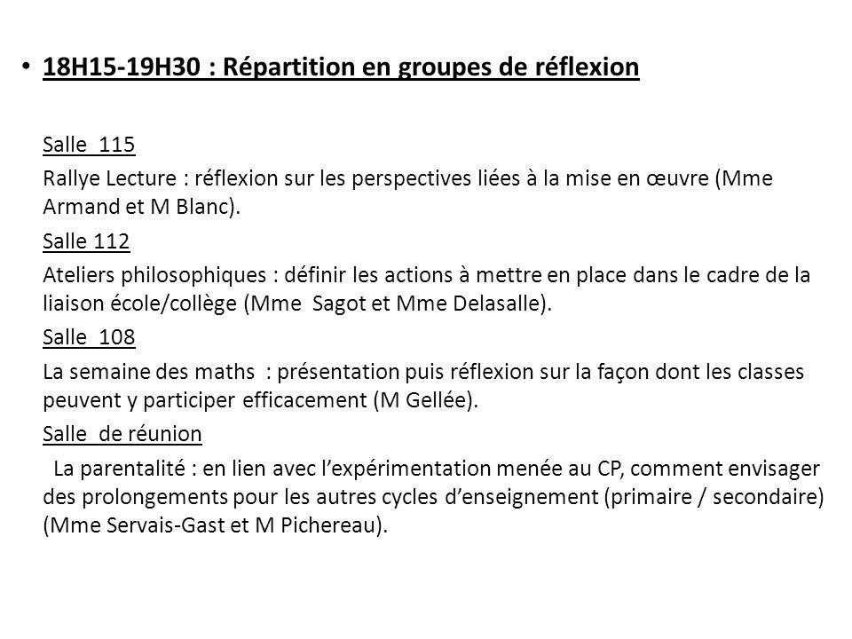 18H15-19H30 : Répartition en groupes de réflexion