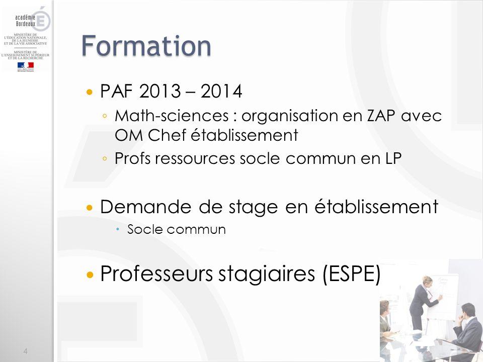 Formation Professeurs stagiaires (ESPE) PAF 2013 – 2014
