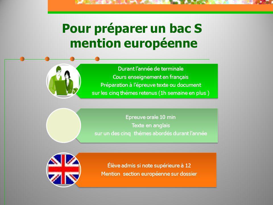 Pour préparer un bac S mention européenne