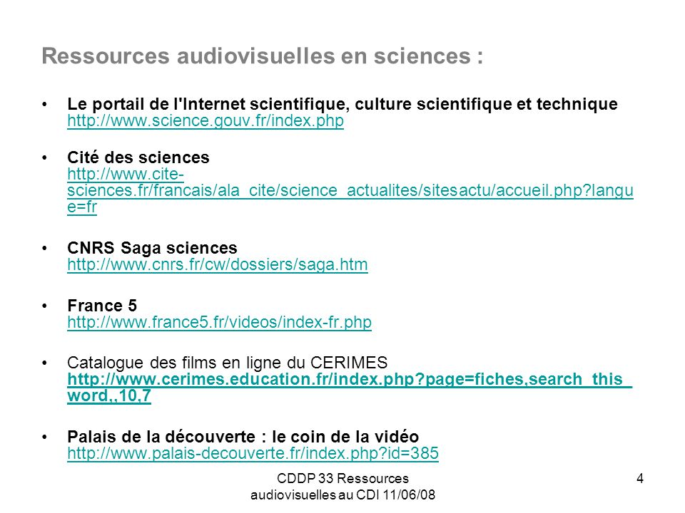 Ressources audiovisuelles en sciences :