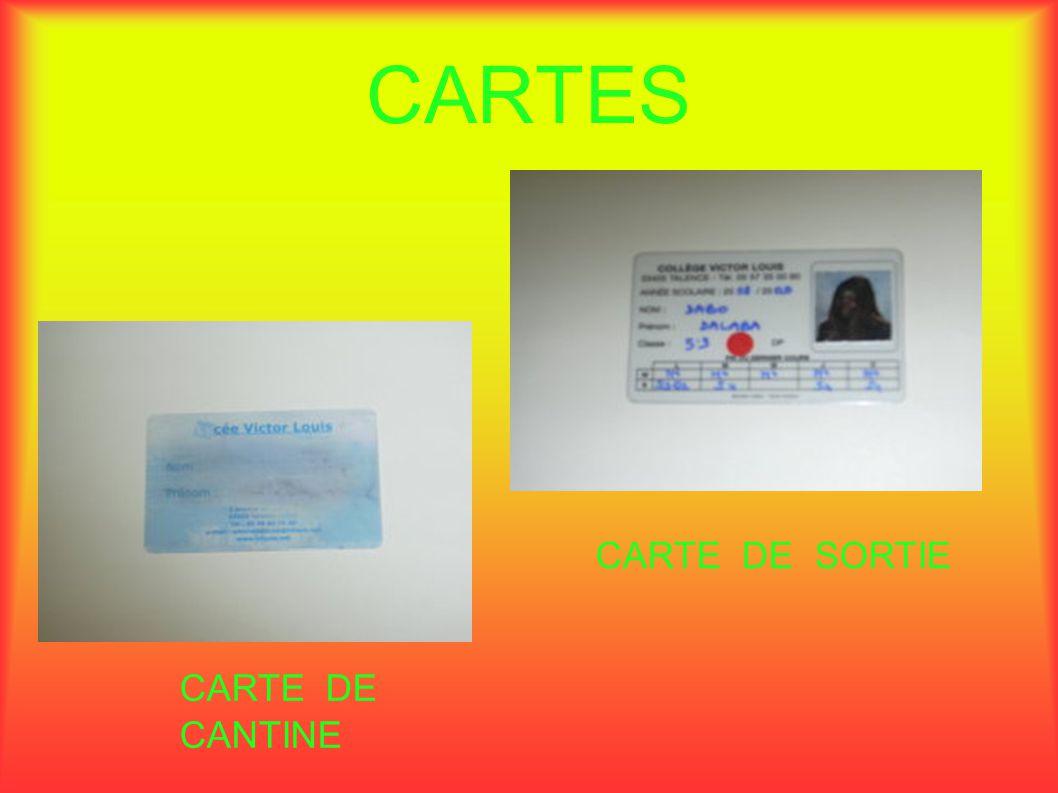 CARTES CARTE DE SORTIE CARTE DE CANTINE
