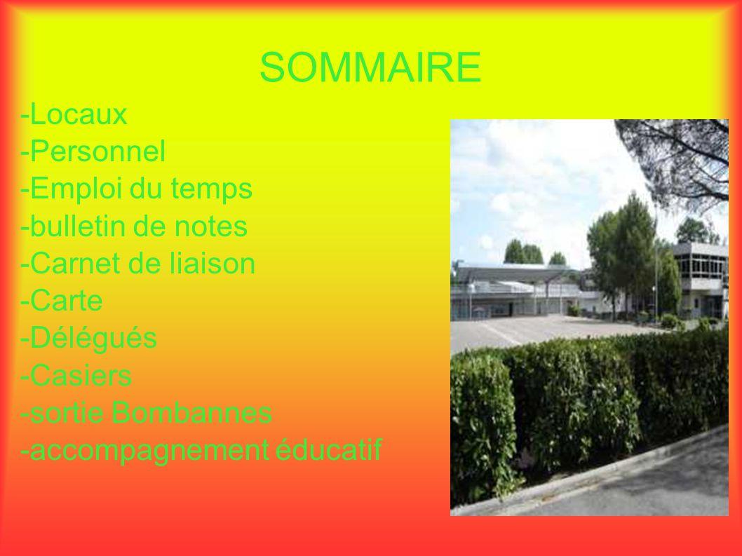 SOMMAIRE -Locaux -Personnel -Emploi du temps -bulletin de notes