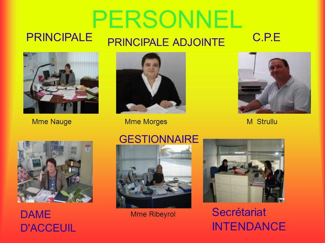 PERSONNEL PRINCIPALE C.P.E Secrétariat INTENDANCE PRINCIPALE ADJOINTE