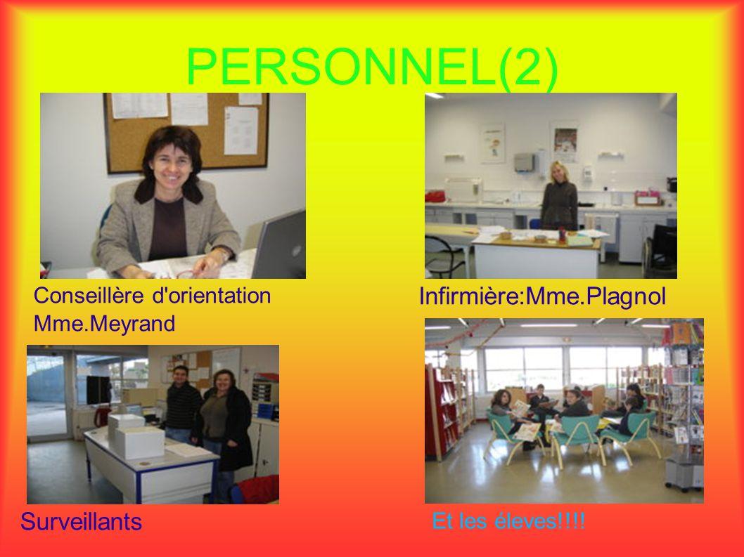 PERSONNEL(2) Infirmière:Mme.Plagnol Surveillants