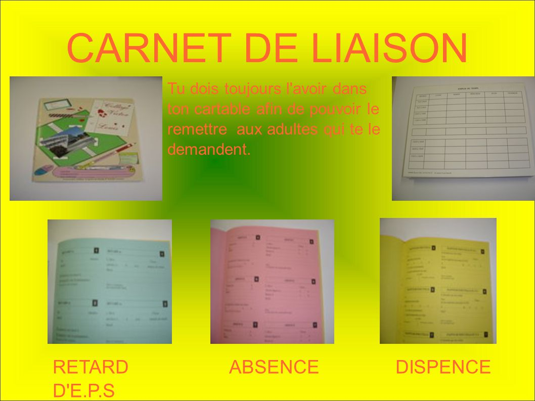 CARNET DE LIAISON RETARD ABSENCE DISPENCE D E.P.S