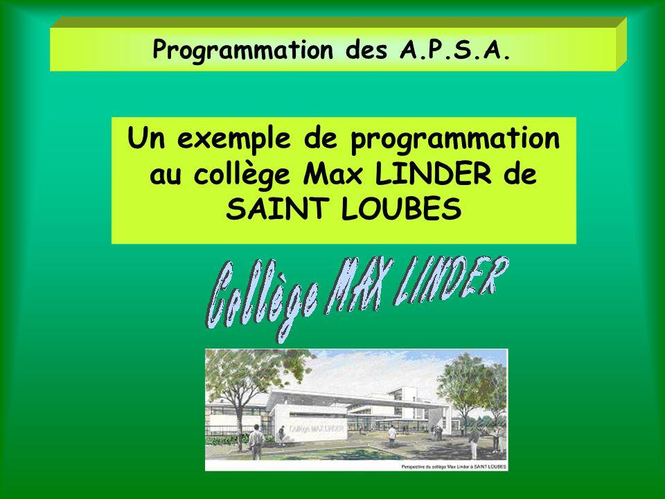 Programmation des A.P.S.A.