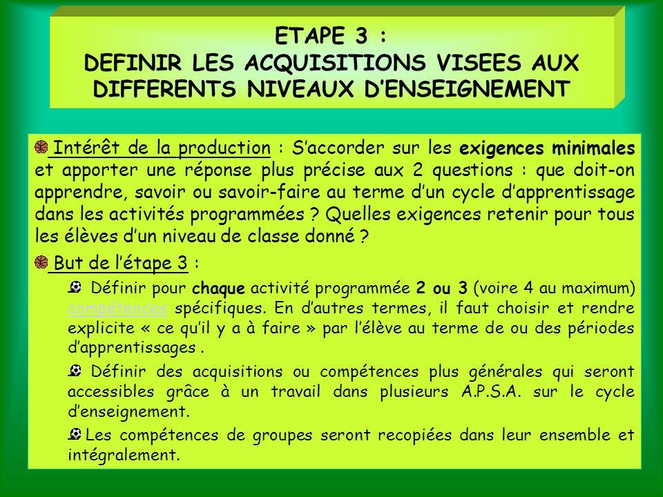 ETAPE 3 : DEFINIR LES ACQUISITIONS VISEES AUX DIFFERENTS NIVEAUX D'ENSEIGNEMENT