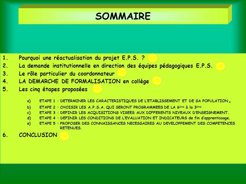 SOMMAIRE Pourquoi une réactualisation du projet E.P.S.