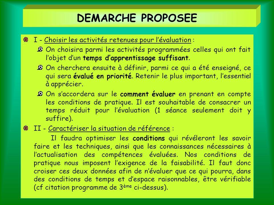 DEMARCHE PROPOSEE I - Choisir les activités retenues pour l'évaluation :
