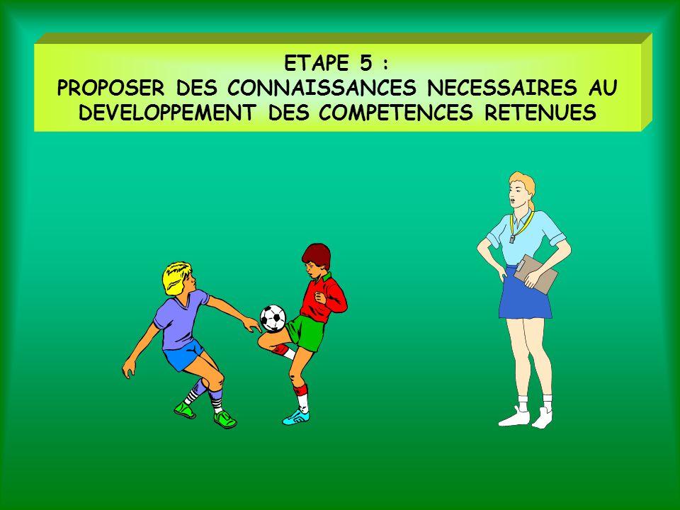 ETAPE 5 : PROPOSER DES CONNAISSANCES NECESSAIRES AU DEVELOPPEMENT DES COMPETENCES RETENUES
