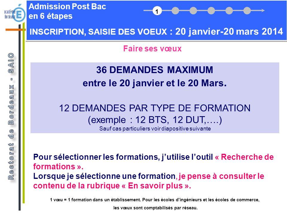 36 DEMANDES MAXIMUM entre le 20 janvier et le 20 Mars.