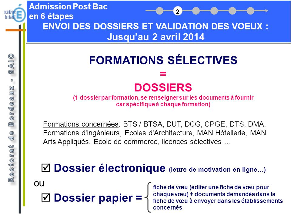 FORMATIONS SÉLECTIVES = DOSSIERS