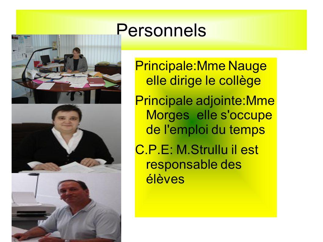 Personnels Principale:Mme Nauge elle dirige le collège