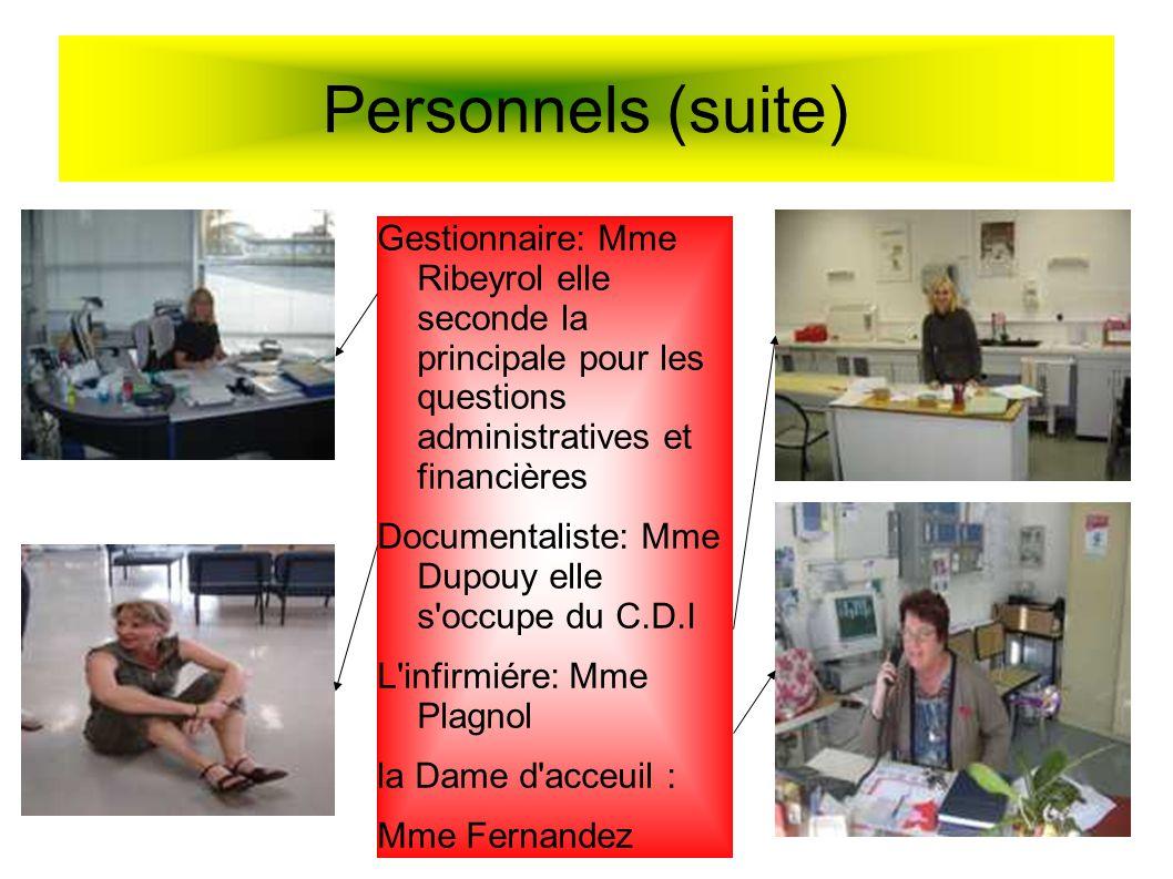 Personnels (suite) Gestionnaire: Mme Ribeyrol elle seconde la principale pour les questions administratives et financières.