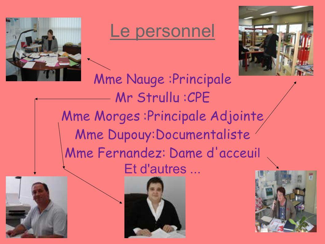 Le personnel Mme Nauge :Principale Mr Strullu :CPE