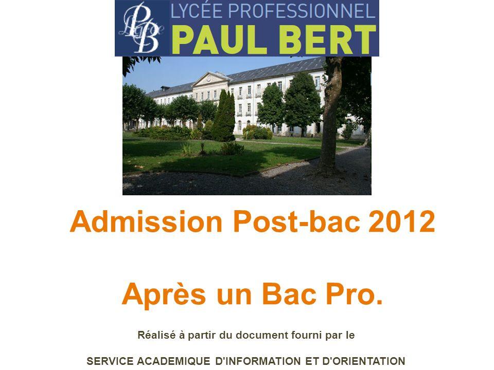 Admission Post-bac 2012 Après un Bac Pro.
