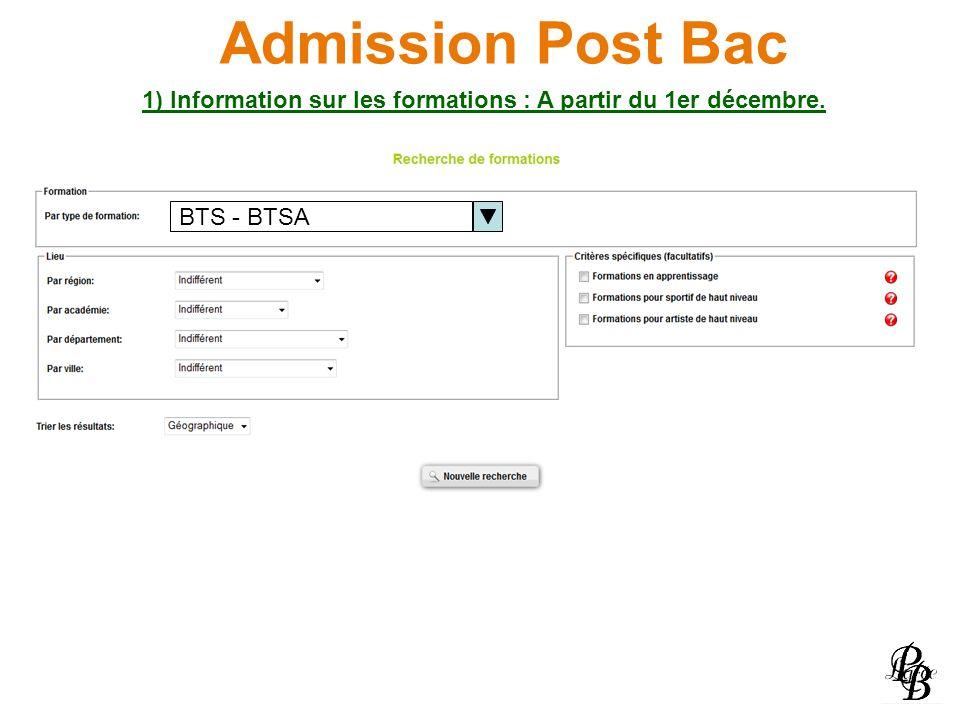 1) Information sur les formations : A partir du 1er décembre.