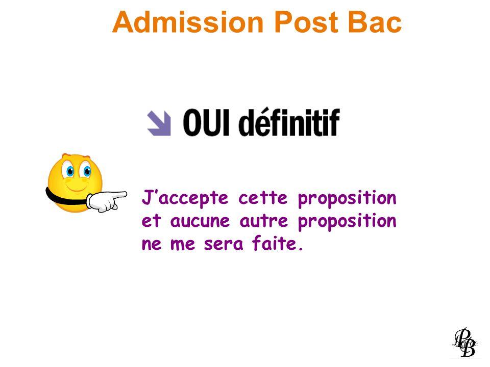Admission Post Bac J'accepte cette proposition et aucune autre proposition ne me sera faite.