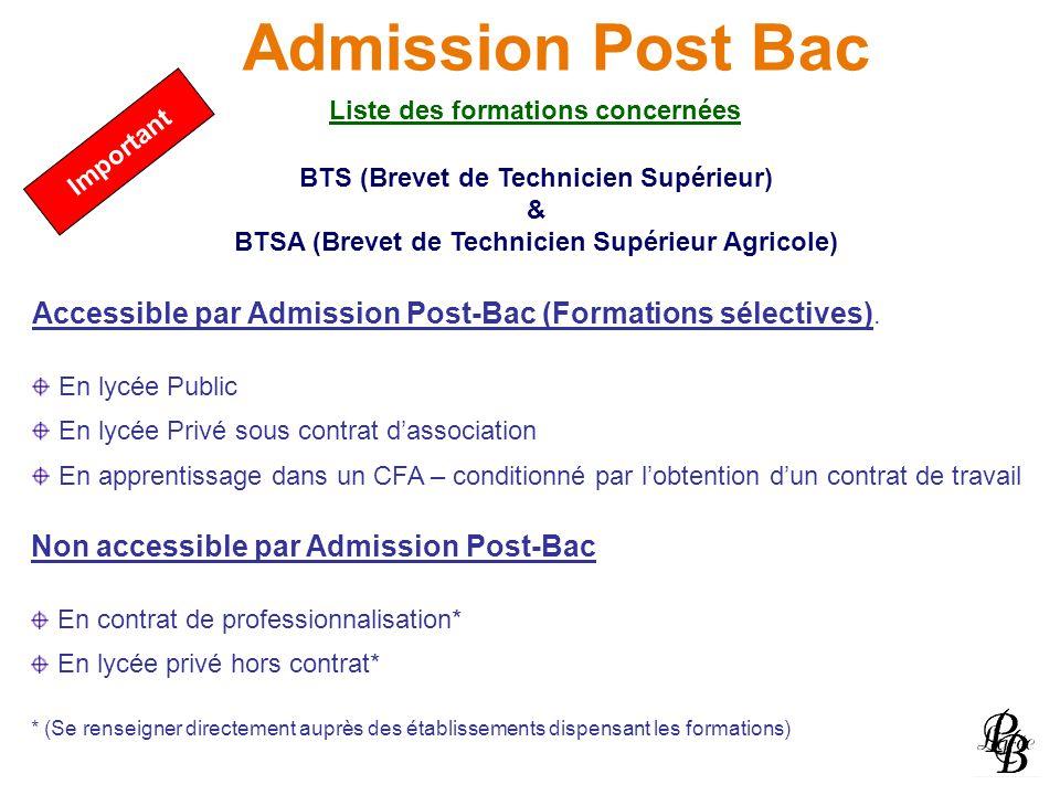 Admission Post Bac Liste des formations concernées. Important. BTS (Brevet de Technicien Supérieur)
