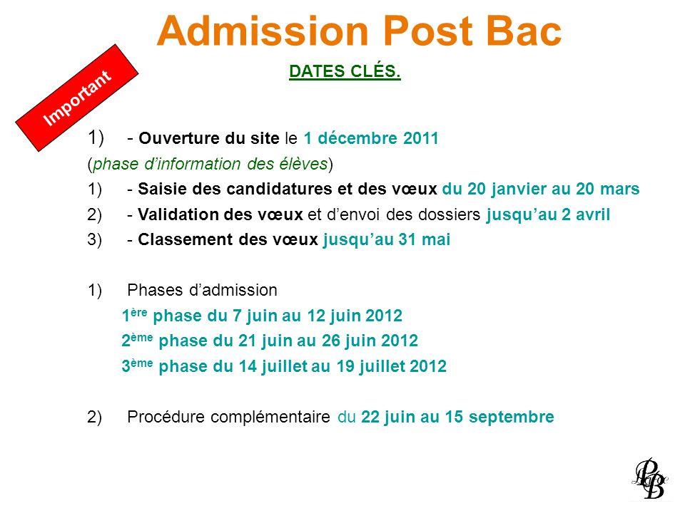 Admission Post Bac - Ouverture du site le 1 décembre 2011 DATES CLÉS.