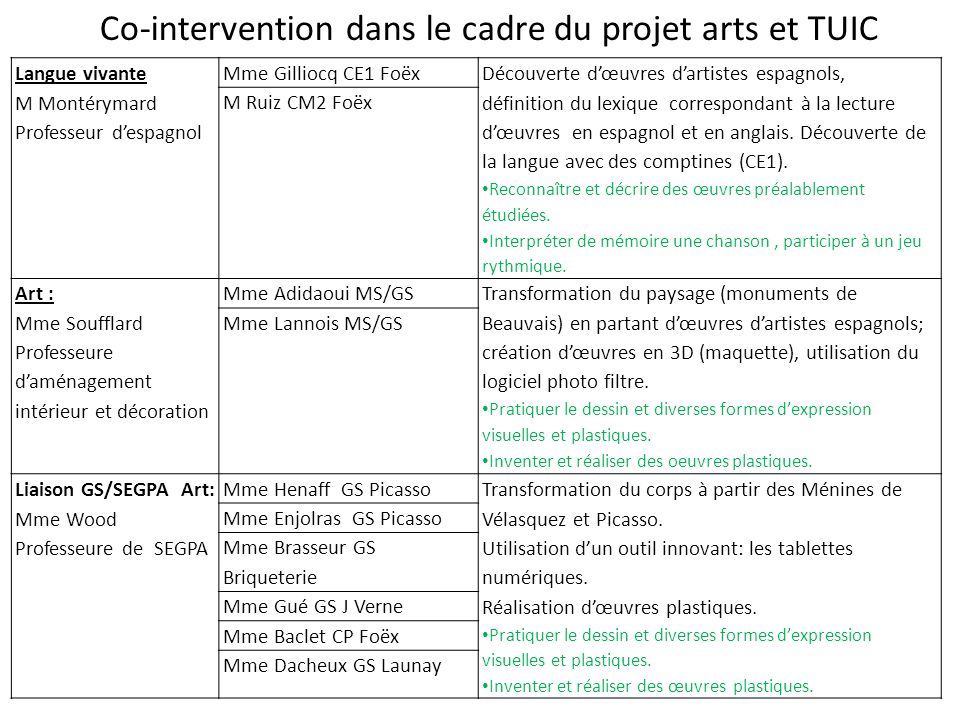 Co-intervention dans le cadre du projet arts et TUIC