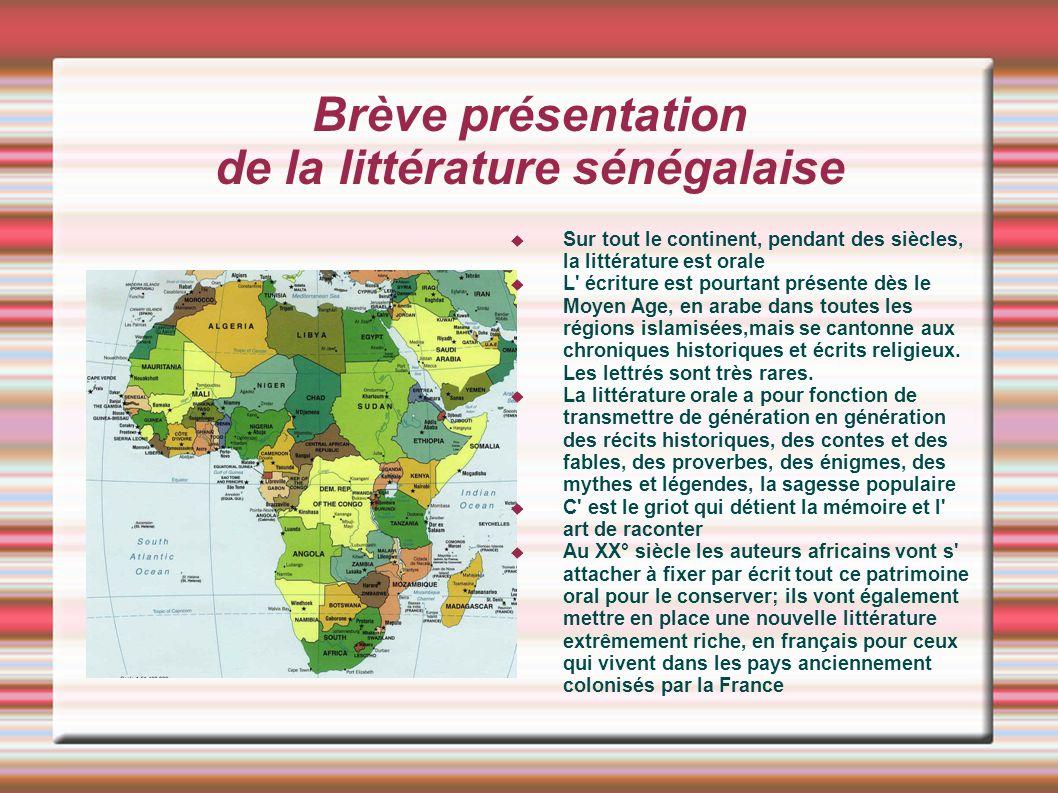 Brève présentation de la littérature sénégalaise
