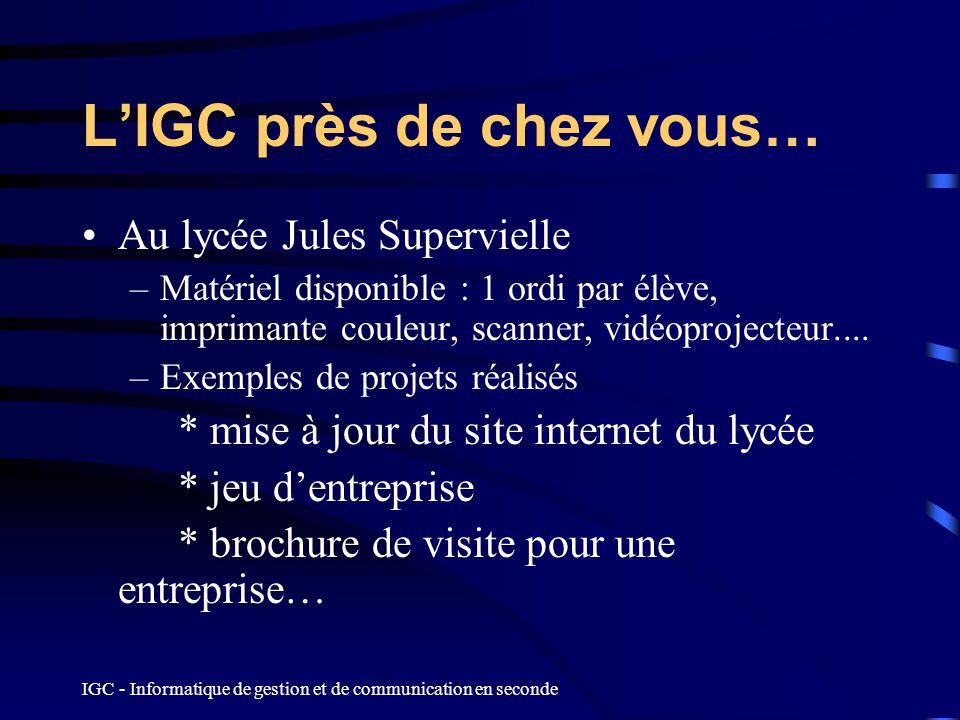 L'IGC près de chez vous…