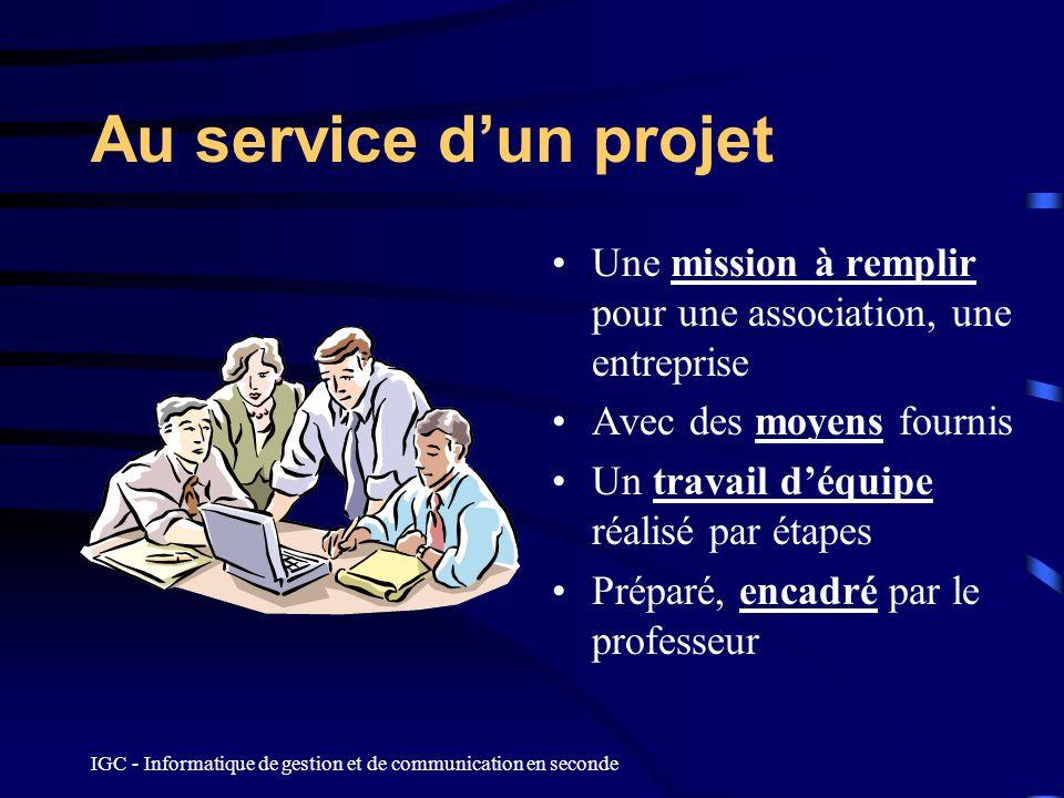 Au service d'un projet Une mission à remplir pour une association, une entreprise. Avec des moyens fournis.
