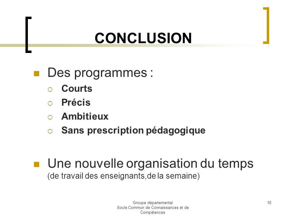 Groupe départemental Socle Commun de Connaissances et de Compétences