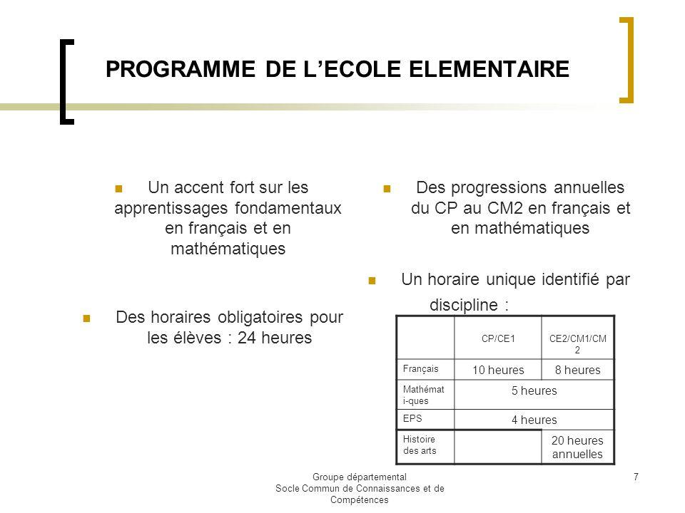 PROGRAMME DE L'ECOLE ELEMENTAIRE
