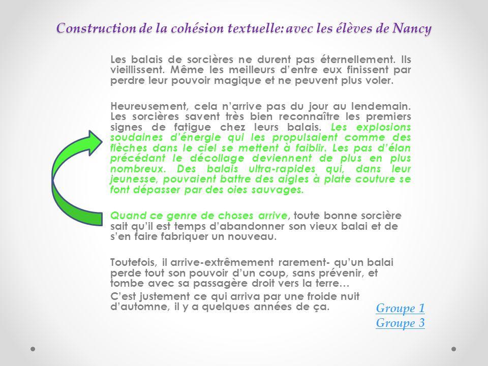 Construction de la cohésion textuelle: avec les élèves de Nancy