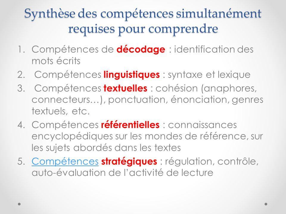 Synthèse des compétences simultanément requises pour comprendre