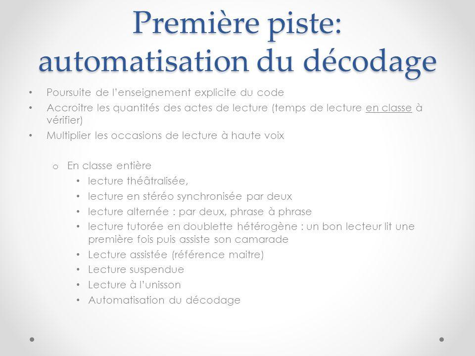 Première piste: automatisation du décodage