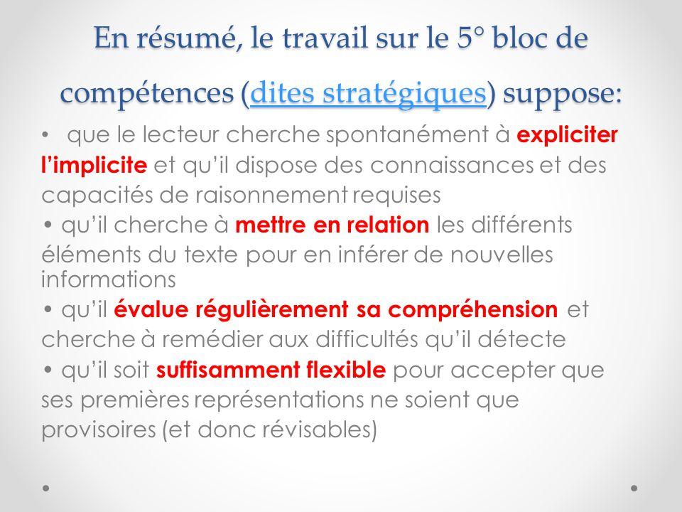 En résumé, le travail sur le 5° bloc de compétences (dites stratégiques) suppose: