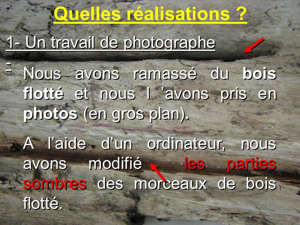 Quelles réalisations 1- Un travail de photographe -