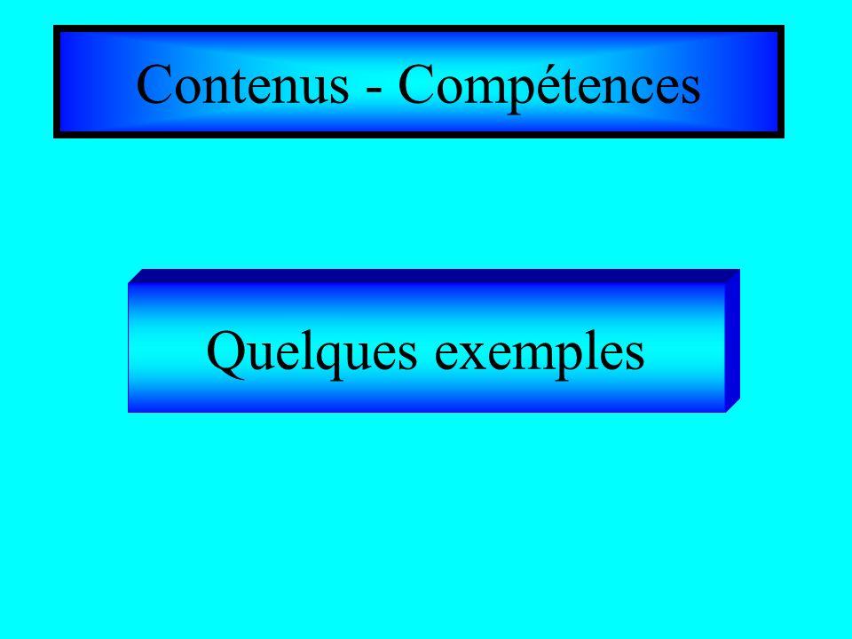 Contenus - Compétences