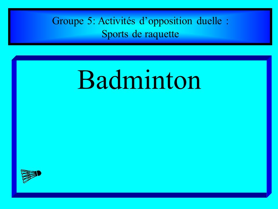 Groupe 5: Activités d'opposition duelle :