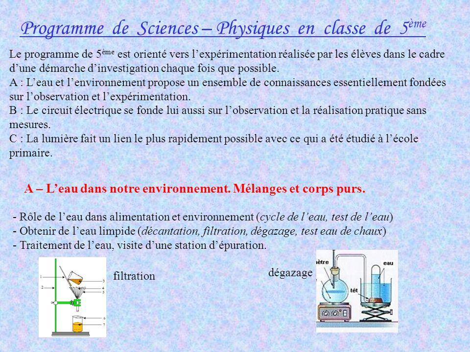 Programme de Sciences – Physiques en classe de 5ème