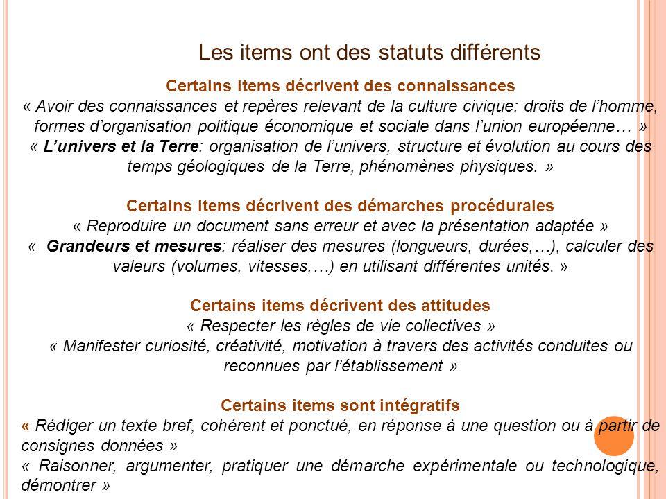 Les items ont des statuts différents